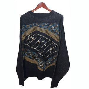 PENDLETON 70's Wool Blue Football Sweater Size XL